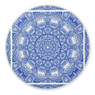 Blue And White Kaleidoscope Ceramic Knob