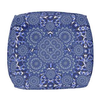 Blue And White Kaleidoscope Pouf