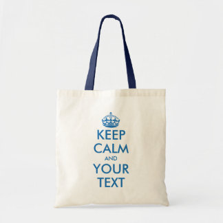 Blue and white Keep Calm tote bag   Customizable