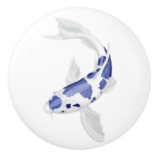 Blue and white Koi Ceramic Knob
