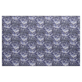 Blue and White Koi Fish Indigo Intricate Fabric