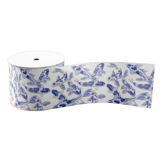 Blue and white Koi Grosgrain Ribbon
