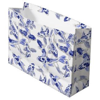 Blue and white Koi Large Gift Bag