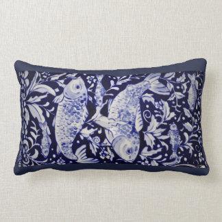 Blue and White Koi Pond Ceramic Tile Design Pillow