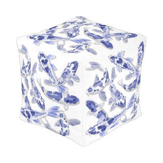 Blue and white Koi Pouf