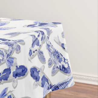 Blue and white Koi Tablecloth