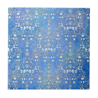 Blue and White Lacy Damask Pattern Tiles