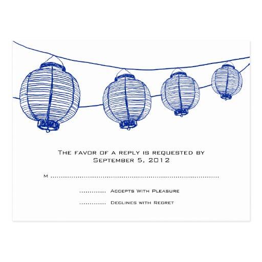 Blue and White Lanterns Wedding RSVP Postcard