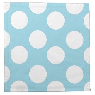 Blue and White Large Polka Dot Print Cloth Napkins