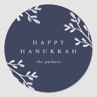 Blue and White Leaves   Happy Hanukkah Classic Round Sticker