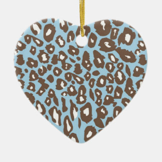 Blue and White Leopard Print Ceramic Heart Ornament
