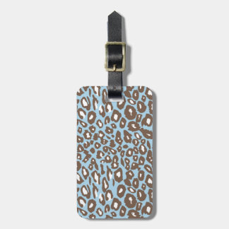 Blue and White Leopard Print Luggage Tag