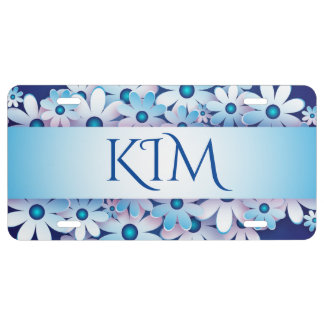 Blue and White License Plate