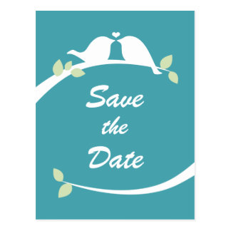 Blue and White Love Birds Wedding Save the Date Postcard