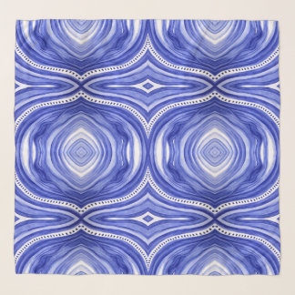 Blue and White, Make Waves, Marie Stephens Art Scarf