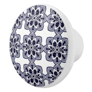 Blue And White Mandala Pattern Ceramic Knob