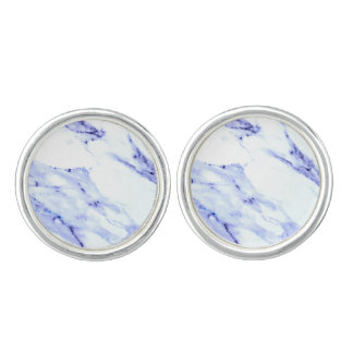 Blue and White Marble Cufflinks