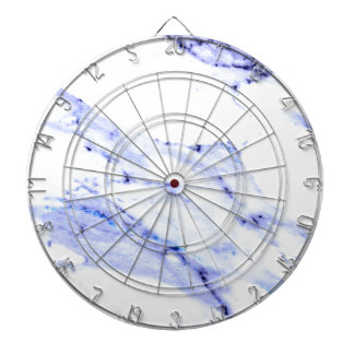 Blue and white marble dartboard
