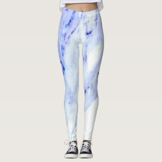 Blue and White Marble Leggings