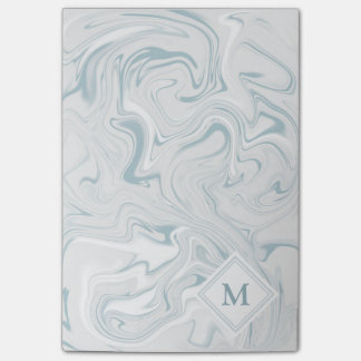 Blue and White Marble look with Diamond Monogram Post-it® Notes