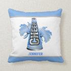 Blue and White Megaphone Cheerleader Pillow