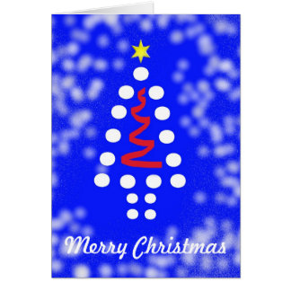 Blue and White Merry Christmas Tree Card