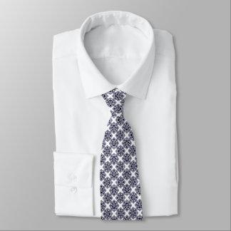 Blue And White Modern Geometric Pattern Tie