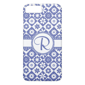 Blue and White Monogram R Pretty Floral Pattern iPhone 8 Plus/7 Plus Case
