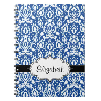 Blue and White Moroccan Damask Spiral Note Book