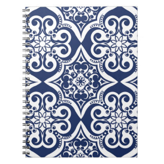 Blue and White Moroccan Pattern Spiral Notebooks