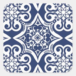 Blue and White Moroccan Pattern Square Sticker
