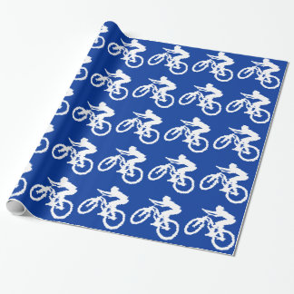 Blue and White Mountain Bike Wrapping Paper