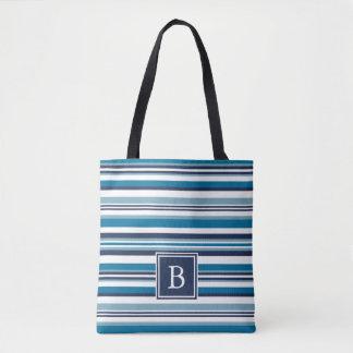 Blue and White Multi Stripe Monogram Tote Bag