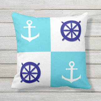 Blue and White Nautical Boat Wheel and Anchor Outdoor Pillow
