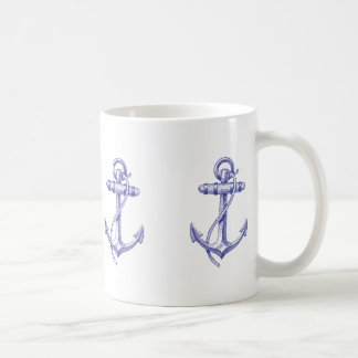 Blue and White Nautical Coffee Cup with Anchors