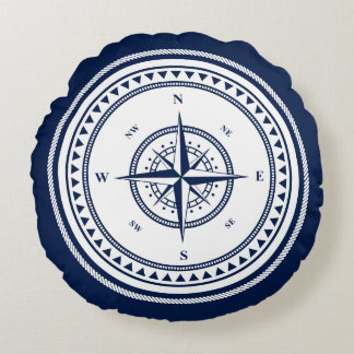 Blue and White Nautical Compass Sailing Round Pillow