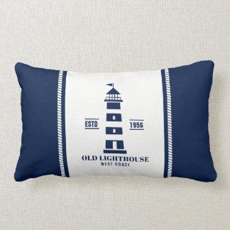 Blue and White Nautical Pillow, Lighthouse Badge Lumbar Pillow