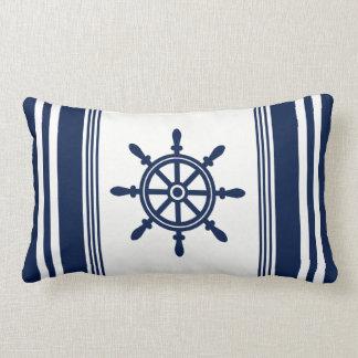 Blue and White Nautical Pillow, Ship Wheel Lumbar Pillow