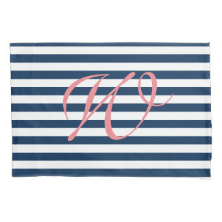 Blue and white nautical stripe monogram pillowcase
