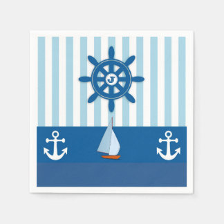 Blue and White Nautical  themed Monogramed design. Paper Napkin