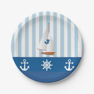 Blue and White Nautical  themed Monogramed design. Paper Plate