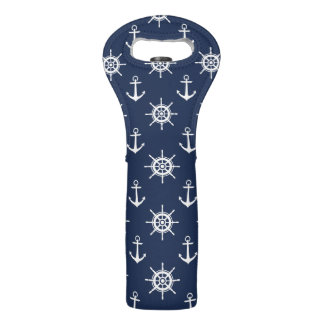 Blue and White Nautical Themed Wine Bag