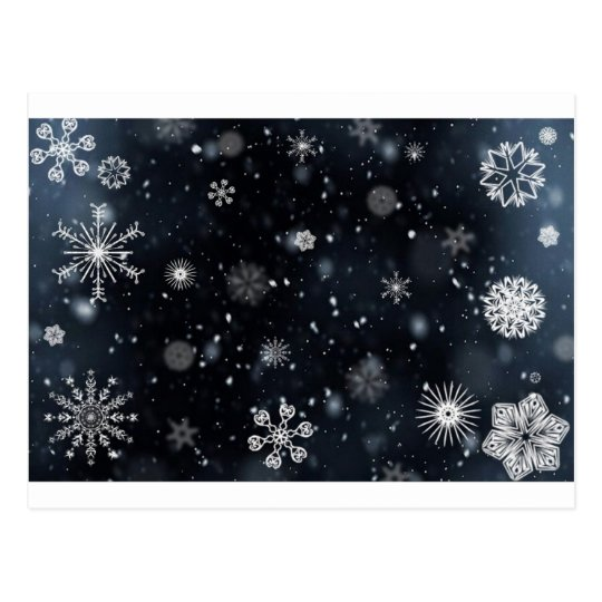 Blue and White Night Sky Snowflakes Postcard