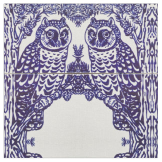 Blue and White Owl Tile Intricate Medallion Fabric