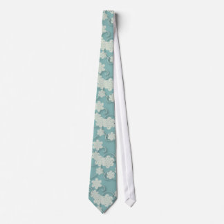 Blue and White Paper Flower Pattern Tie