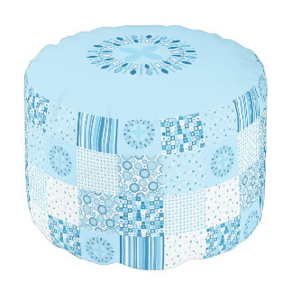 Blue and White Patchwork Ottoman - Round