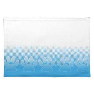 Blue And White Paws With Newsprint Background Placemat
