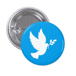 Blue and White Peace Dove 1 Inch Round Button