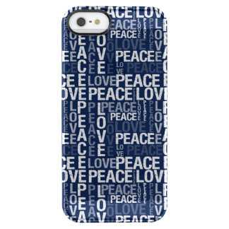 Blue and White Peace Love Typography