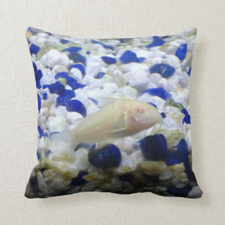 Blue and white pebbles and Albino cat fish Throw Pillow